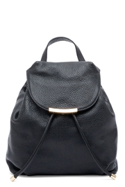 Luisa Spagnoli Black Leater Backpack - Front cropped