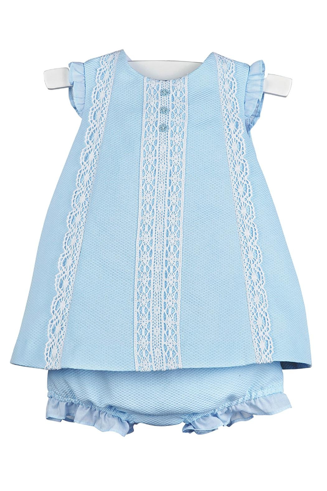 Luli & Me Blue-Pique Lace-Dress & Bloomers - Front Cropped Image