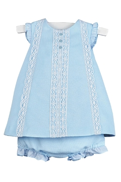 Luli & Me Blue-Pique Lace-Dress & Bloomers - Product List Image