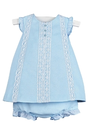 Luli & Me Blue-Pique Lace-Dress & Bloomers - Front cropped