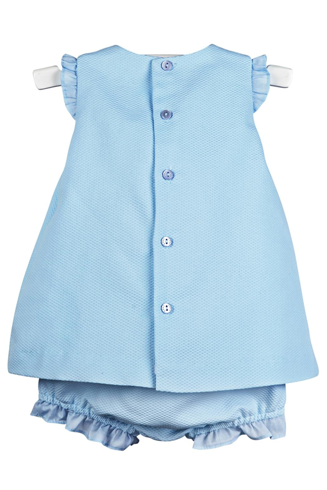 Luli & Me Blue-Pique Lace-Dress & Bloomers - Front Full Image