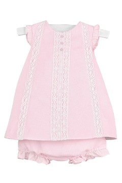 Luli & Me Pink-Pique Lace-Dress & Bloomers - Product List Image