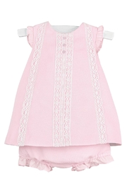 Luli & Me Pink-Pique Lace-Dress & Bloomers - Front cropped