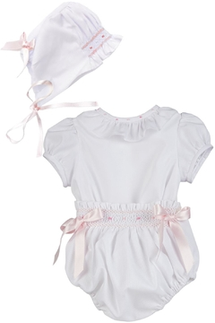 Luli & Me White 2pc-Bubble & Bonnet-Set - Product List Image