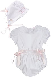 Luli & Me White 2pc-Bubble & Bonnet-Set - Front cropped