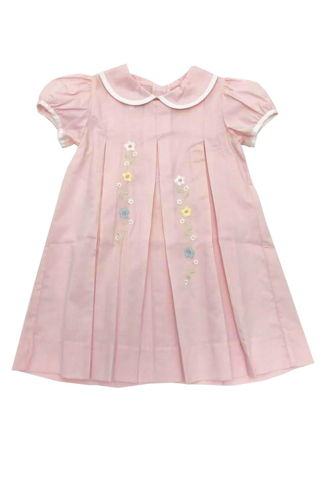 Lullaby Set Girls Pink-Pleated-Floral-Embroidery Dress - Main Image