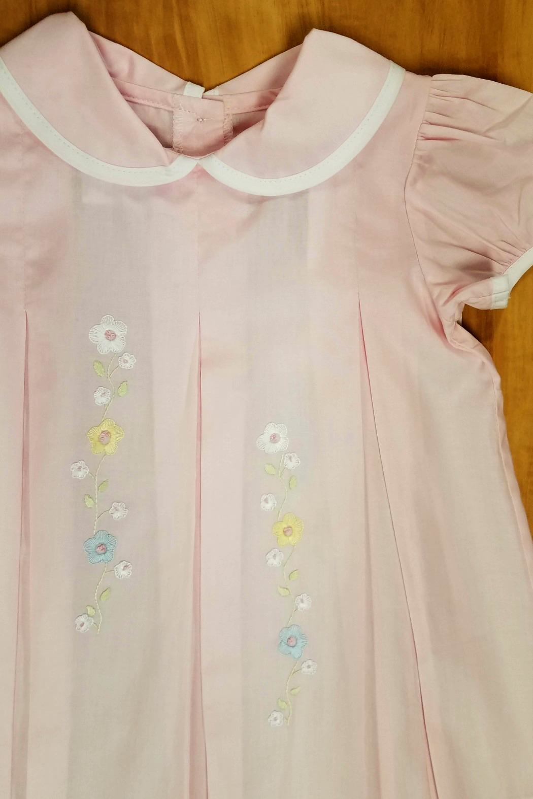 Lullaby Set Girls Pink-Pleated-Floral-Embroidery Dress - Front Full Image