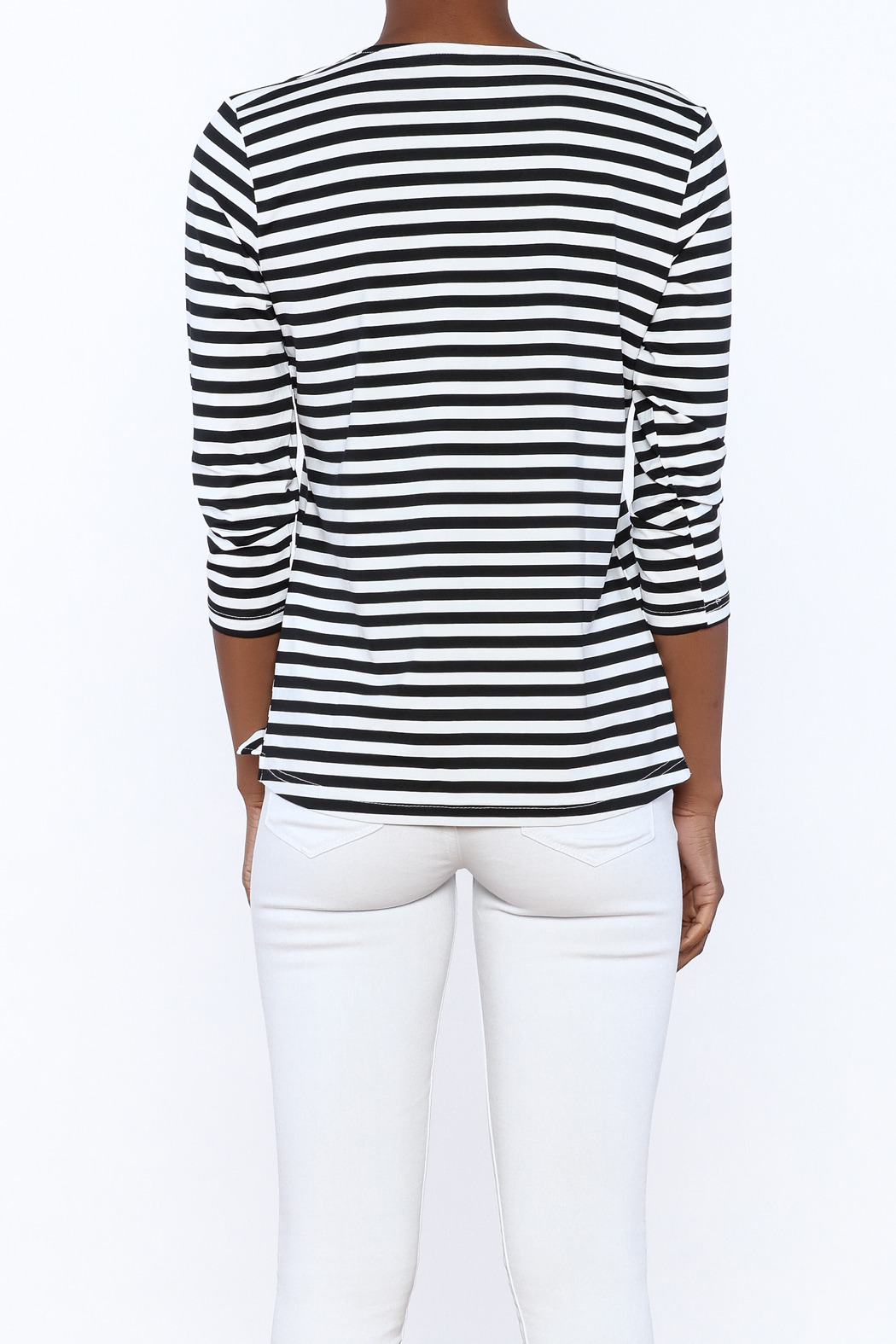 Lulu B Stripe Basic Top - Back Cropped Image