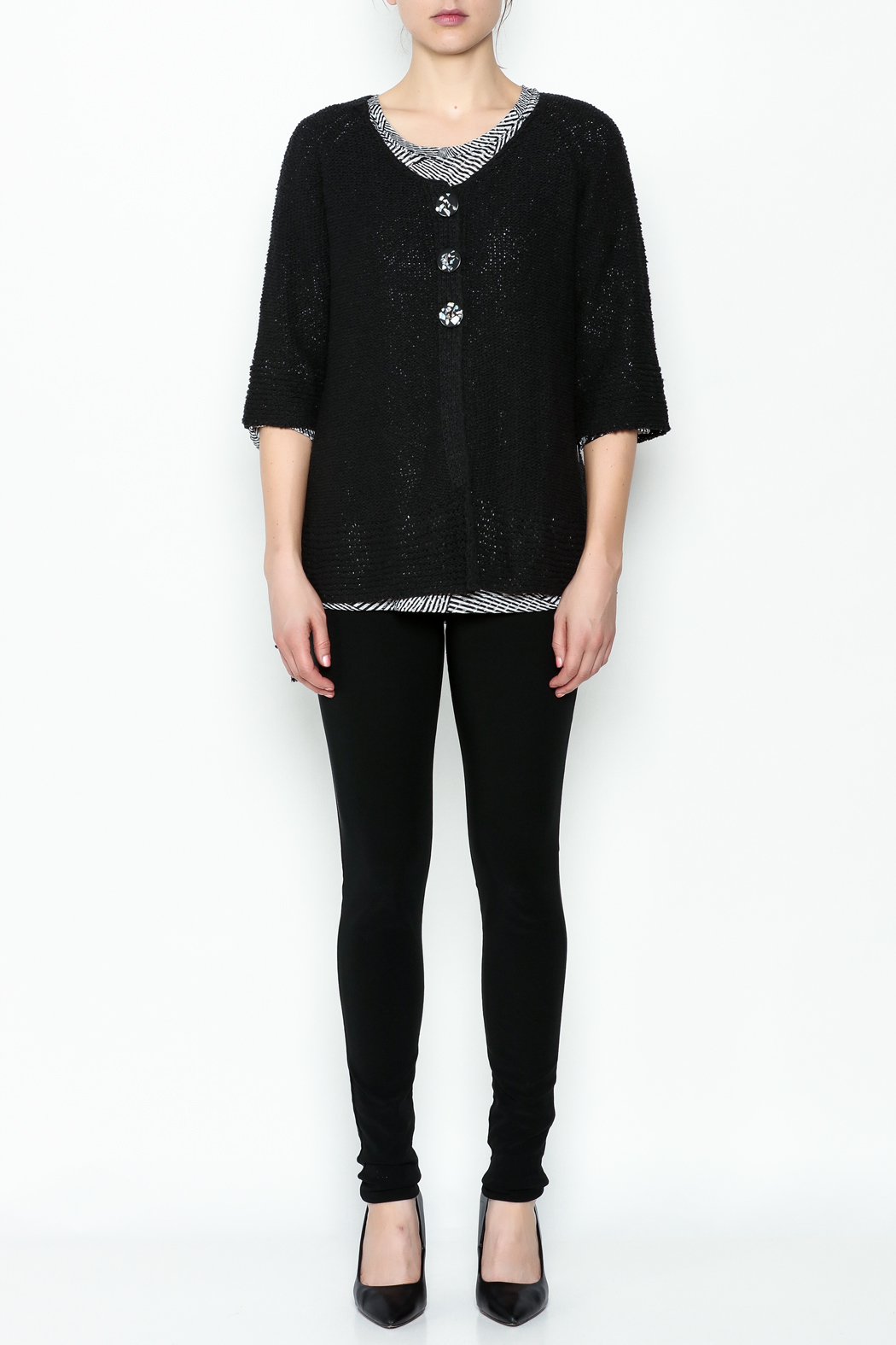 Lulu B Raglan Black Cardigan - Side Cropped Image