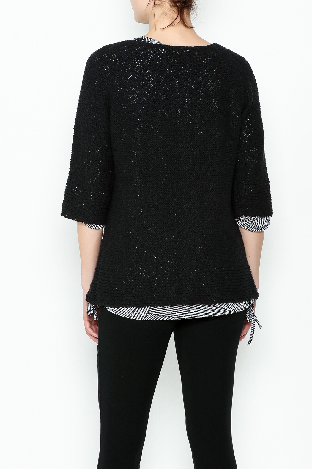 Lulu B Raglan Black Cardigan - Back Cropped Image