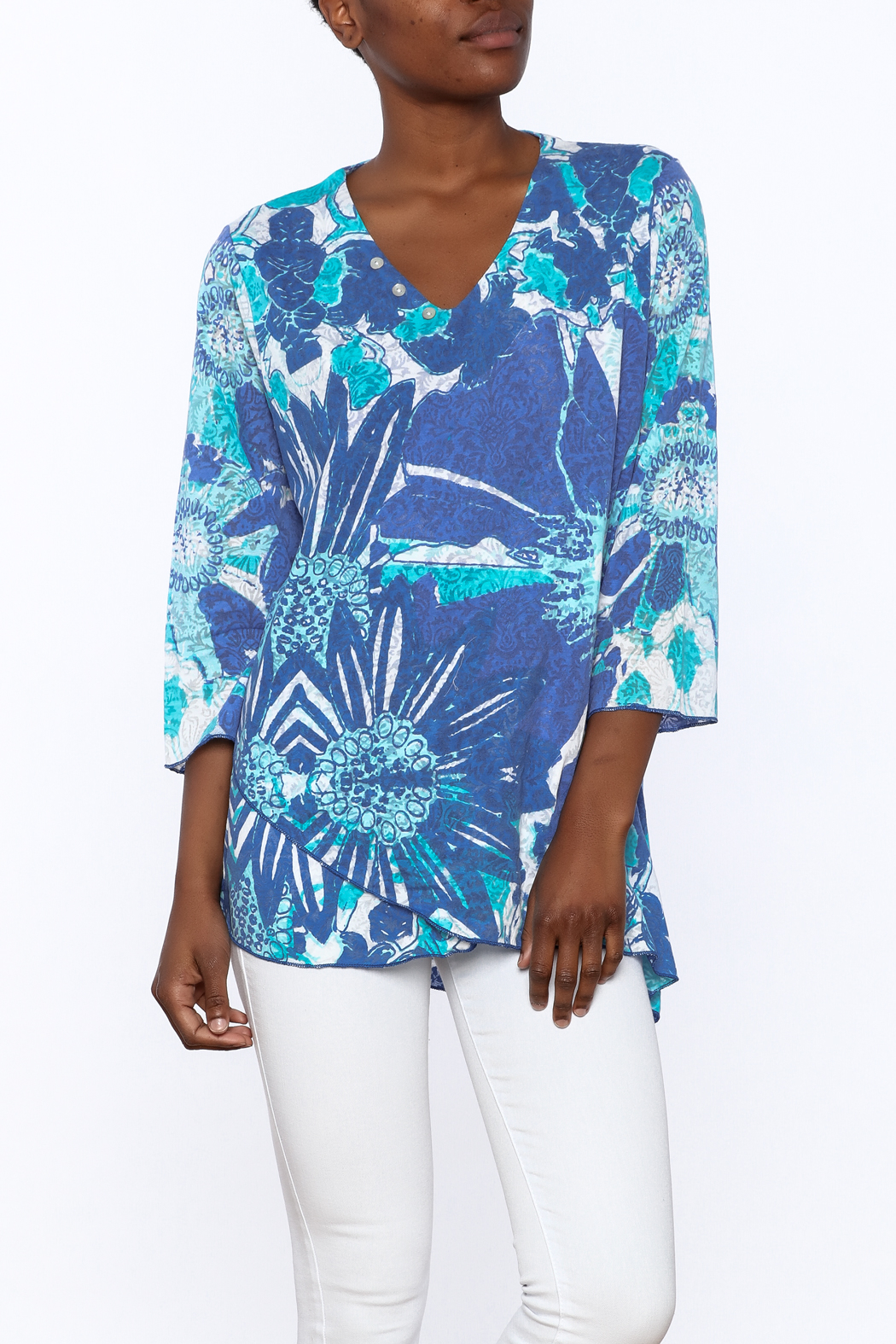 Lulu B Blue Print Tunic Top - Front Cropped Image