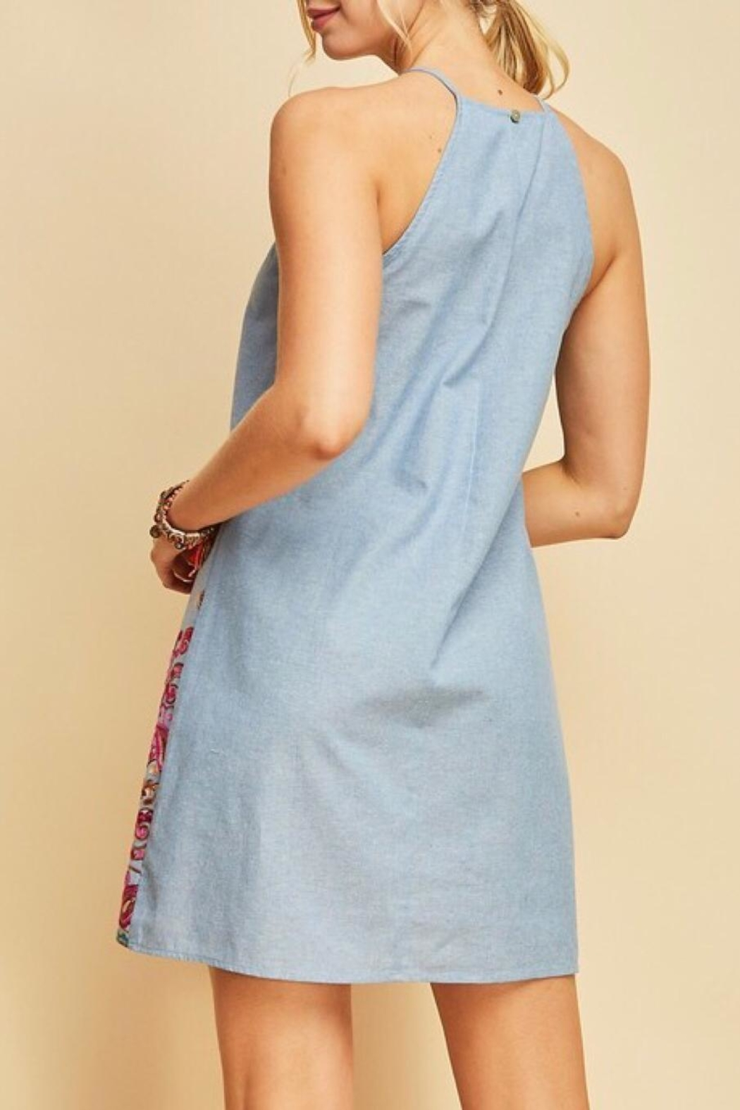 LuLu's Boutique Embroidered Chambray Dress - Back Cropped Image