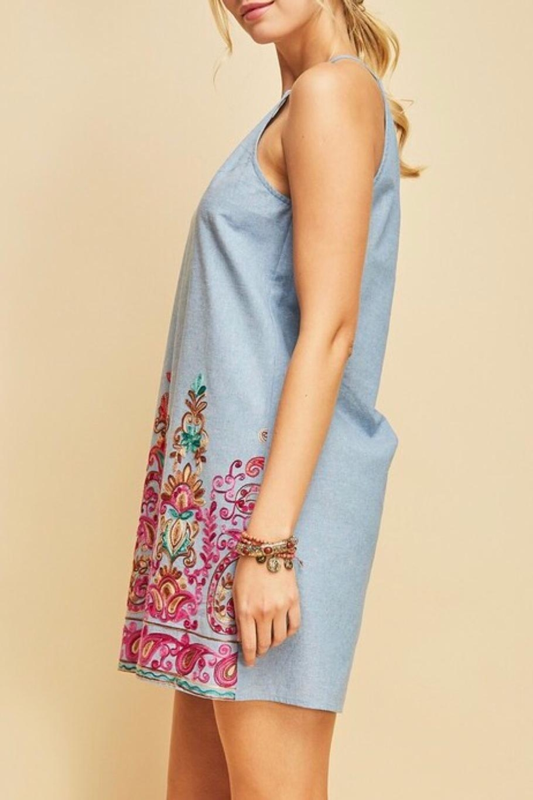 LuLu's Boutique Embroidered Chambray Dress - Side Cropped Image