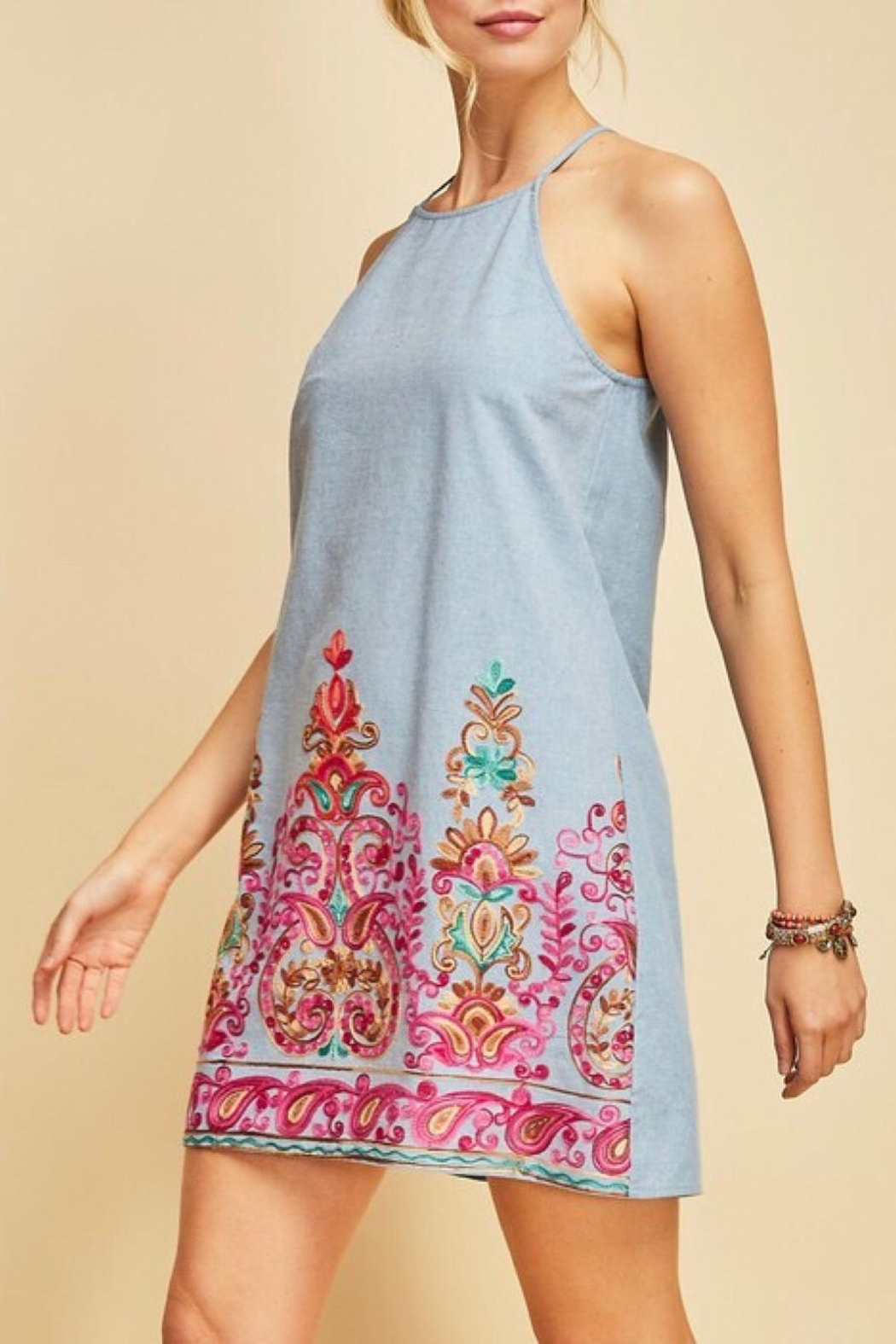 LuLu's Boutique Embroidered Chambray Dress - Front Full Image