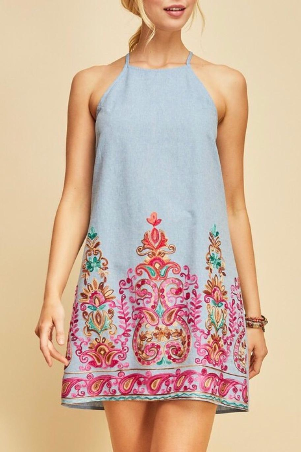LuLu's Boutique Embroidered Chambray Dress - Main Image