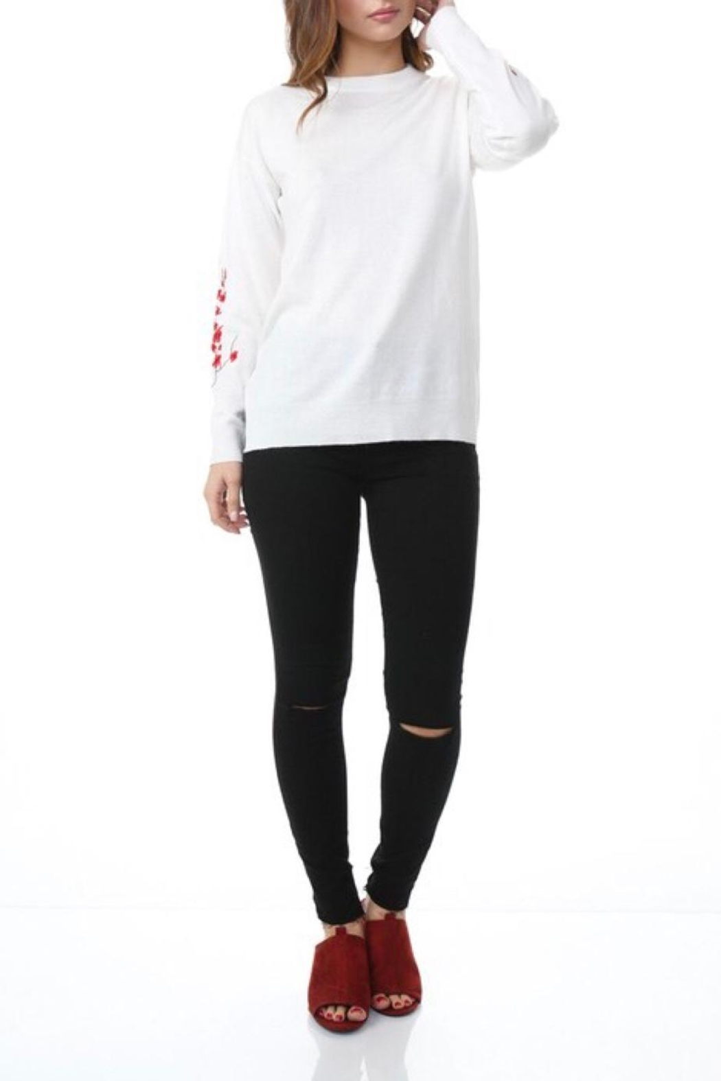 COVERSTITCHED Embroidered Sleeve Sweater - Back Cropped Image