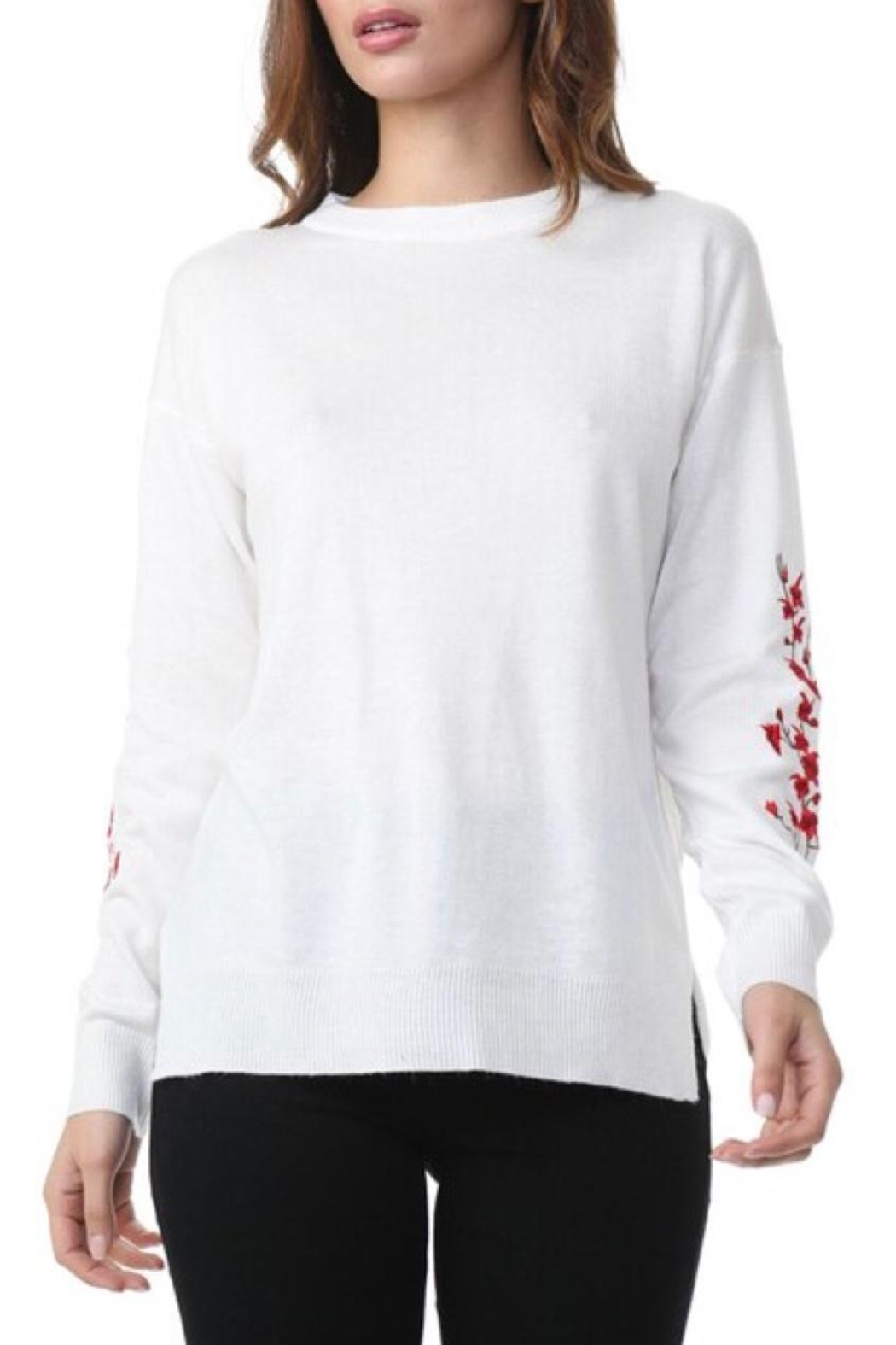 COVERSTITCHED Embroidered Sleeve Sweater - Front Full Image