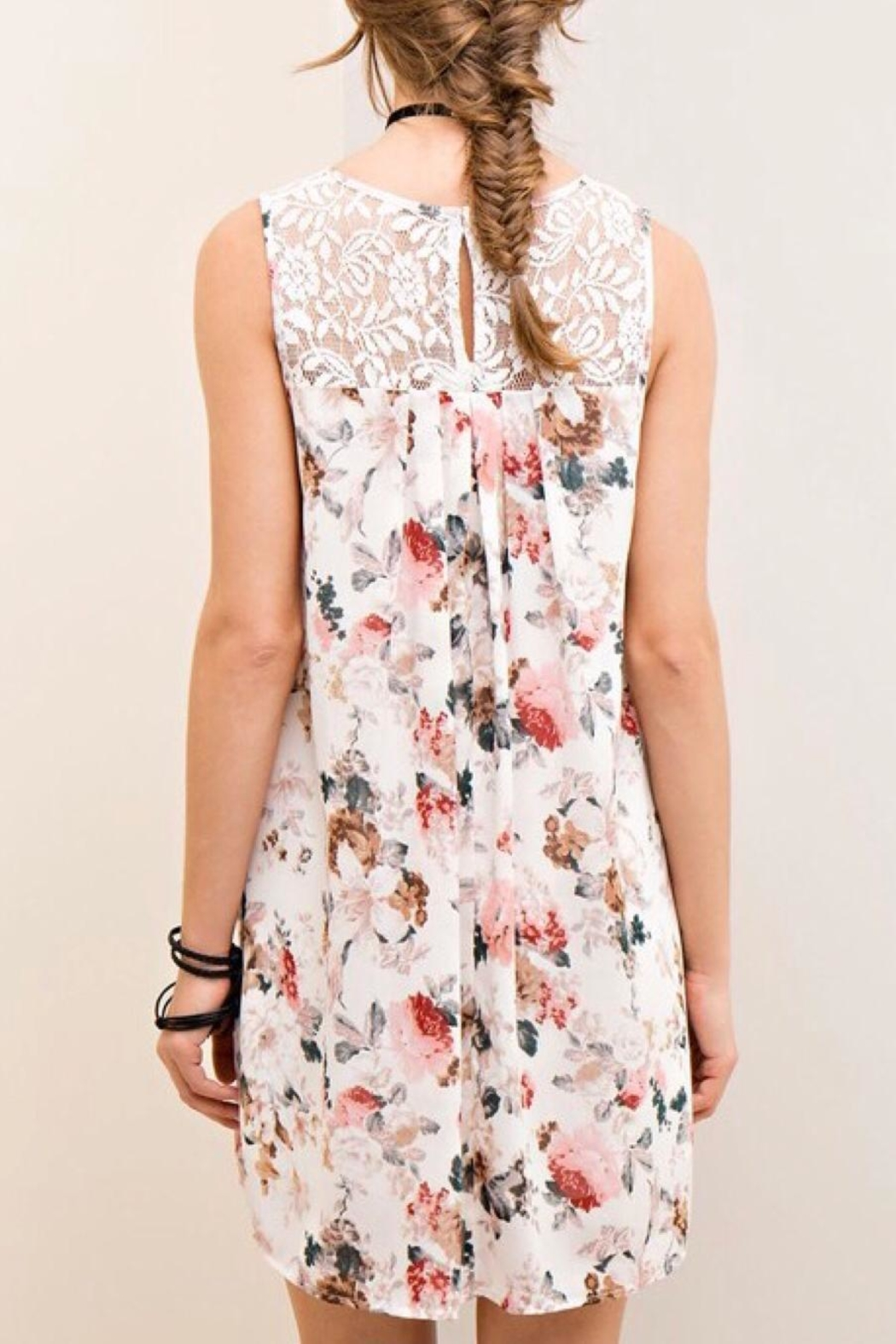 LuLu's Boutique Chiffon Floral Dress - Side Cropped Image