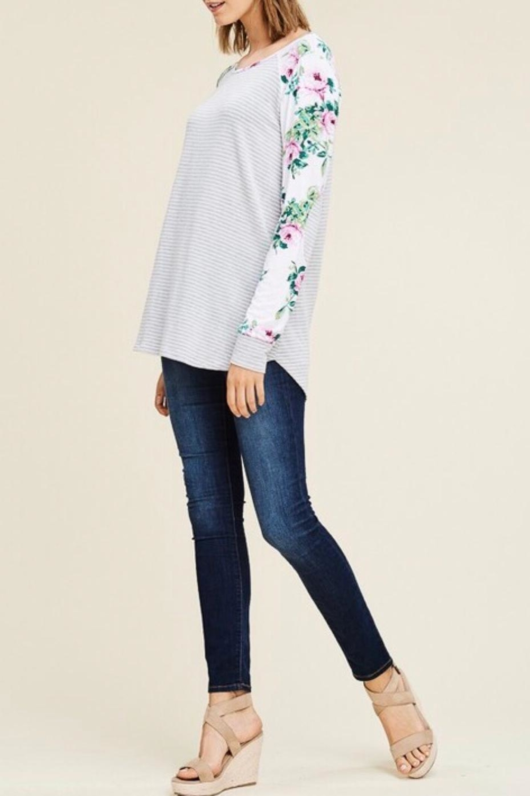 LuLu's Boutique Floral Sleeve Top - Back Cropped Image