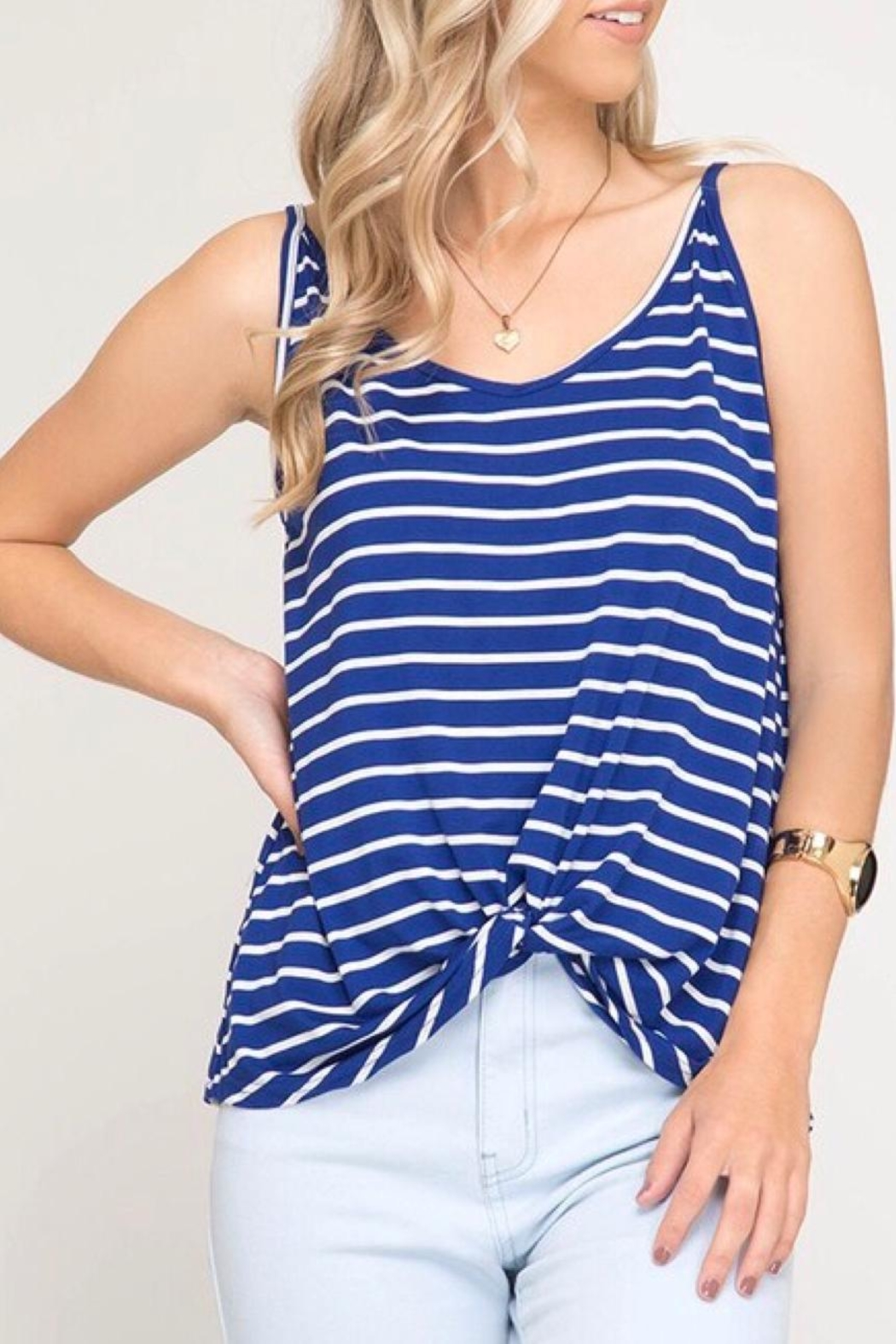 LuLu's Boutique Front Twist Tank - Front Cropped Image