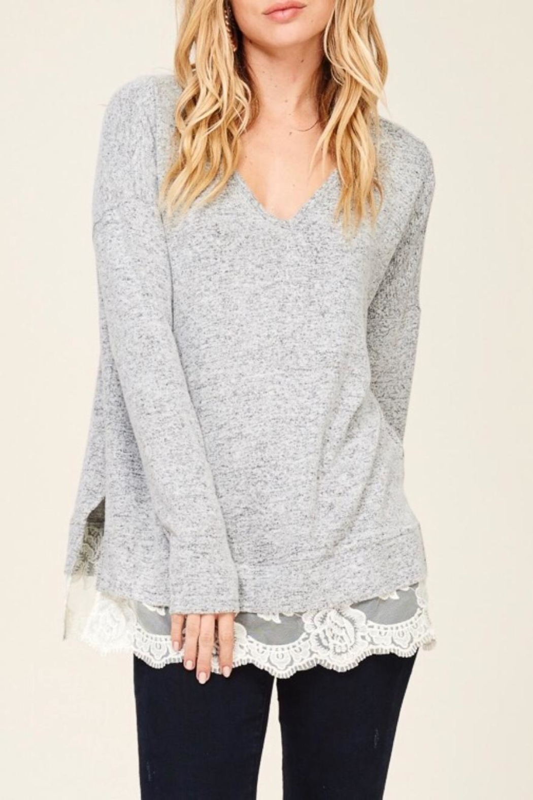LuLu's Boutique Lace Trim Top - Side Cropped Image