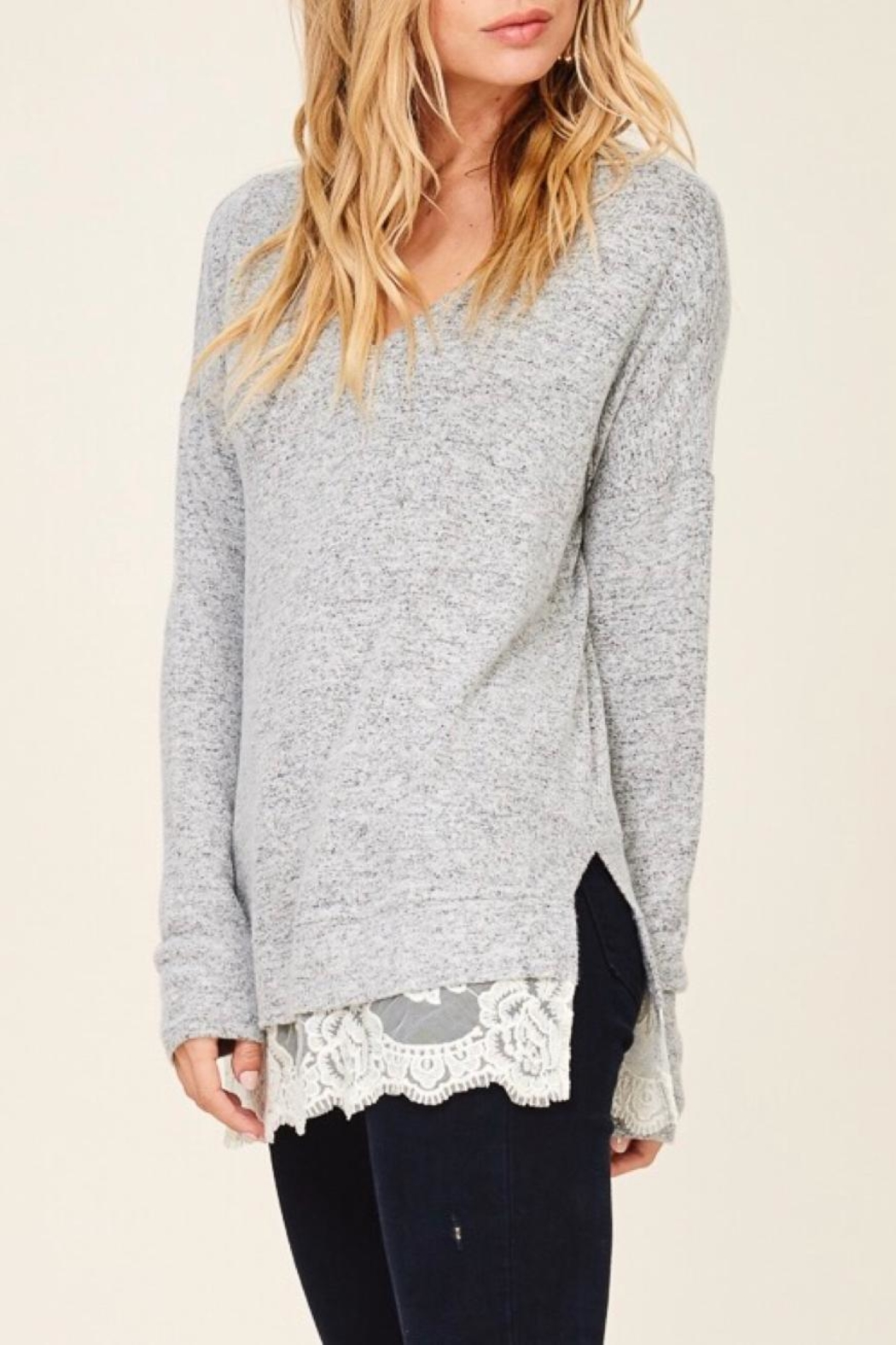 LuLu's Boutique Lace Trim Top - Front Full Image