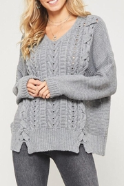 LuLu's Boutique Lace-Up Sweater - Product Mini Image