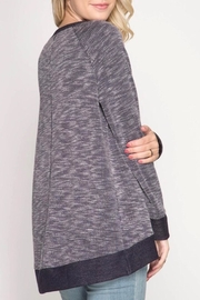 She + Sky Overlapping Knit Top - Front full body