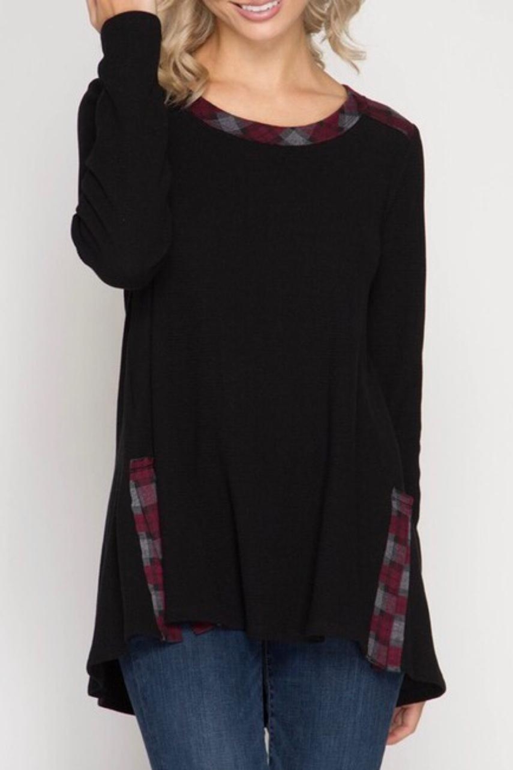 LuLu's Boutique Plaid Contrast Top - Front Cropped Image