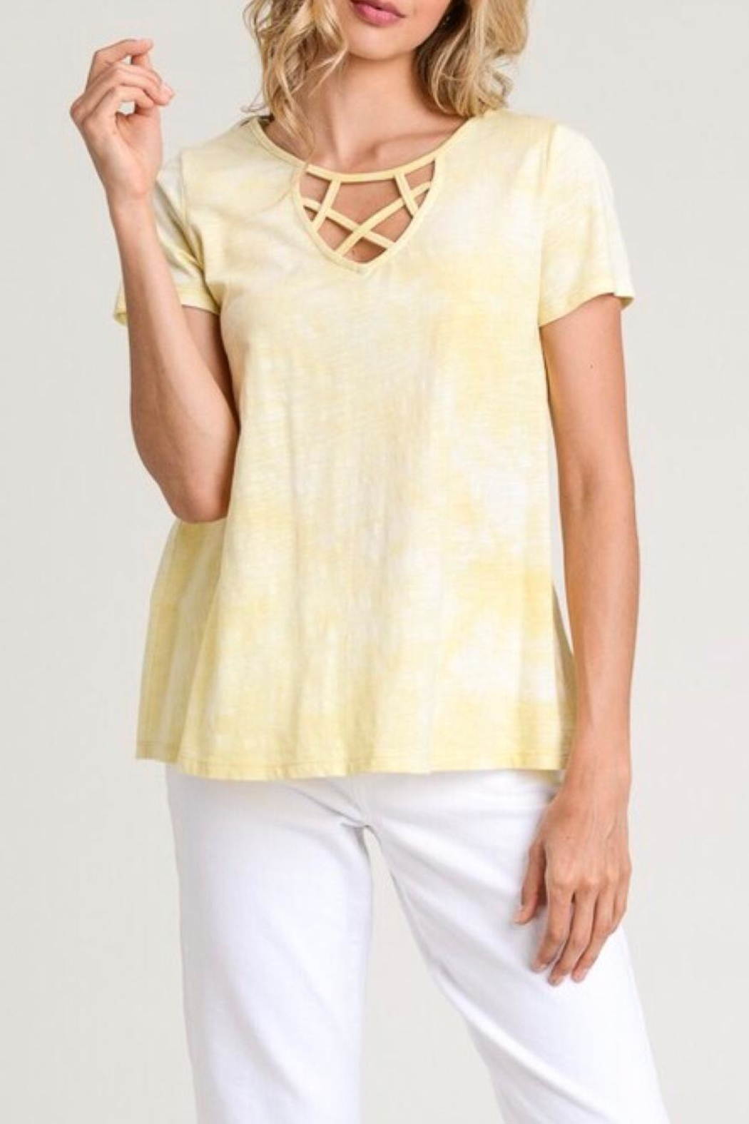 LuLu's Boutique Strappy Neck Tee - Front Full Image
