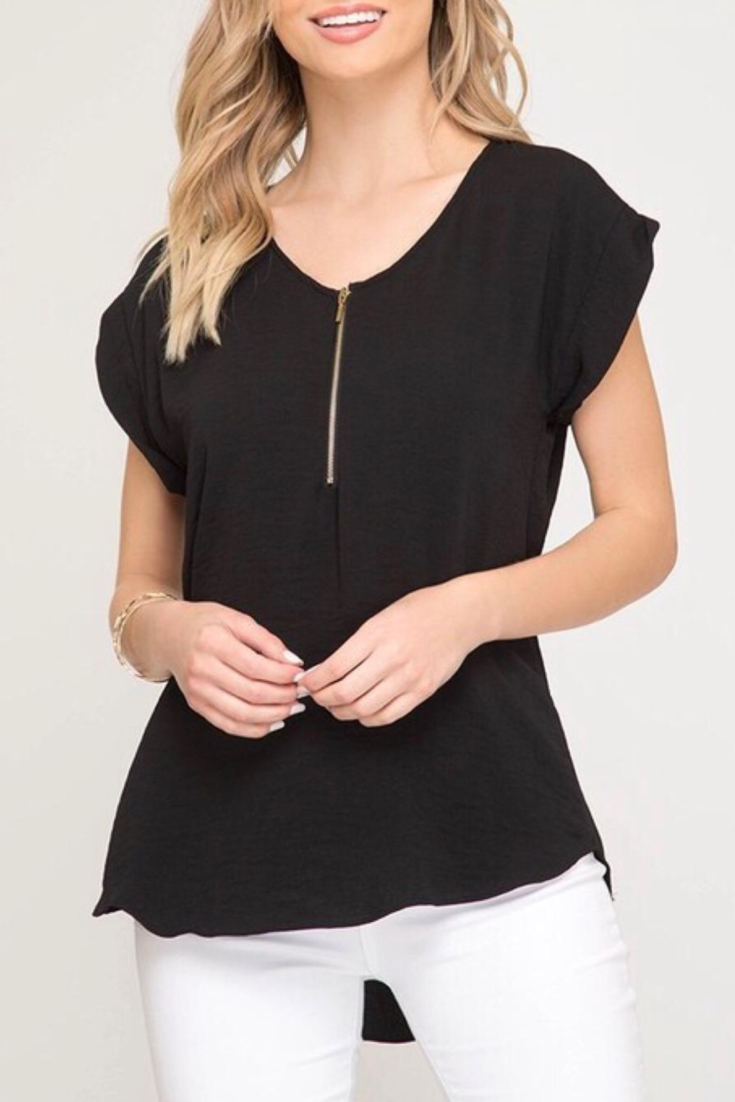 LuLu's Boutique Zipper Blouse - Front Cropped Image