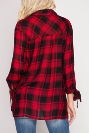 She + Sky Woven Plaid Blouse - Front full body