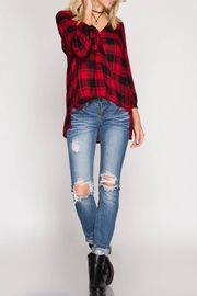 She + Sky Woven Plaid Blouse - Back cropped