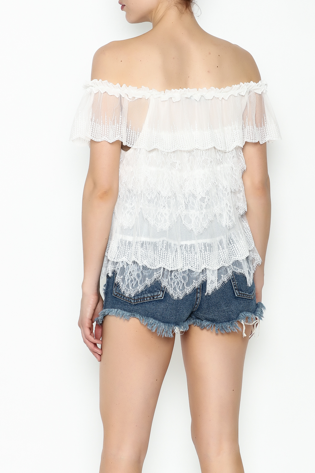 Lulumari Baby Doll Lace Top - Back Cropped Image