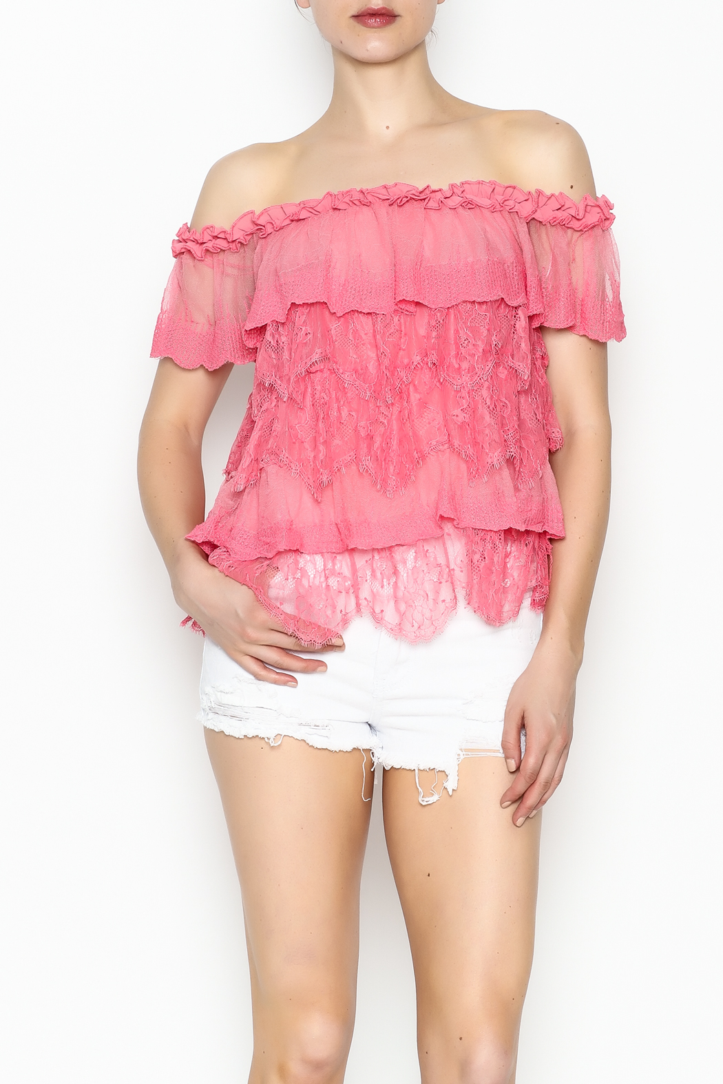 Lulumari Baby Doll Lace Top - Front Cropped Image