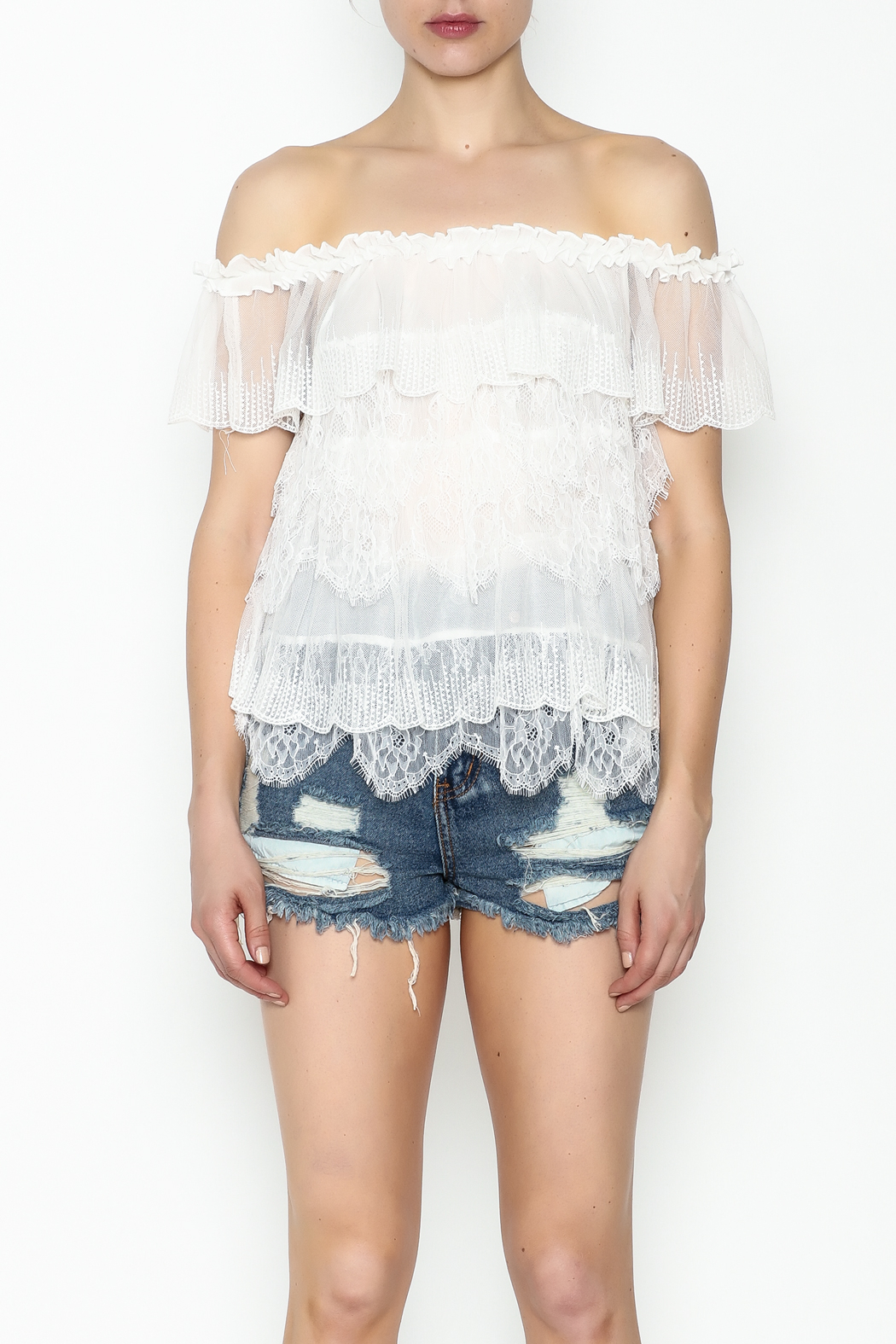 Lulumari Baby Doll Lace Top - Front Full Image