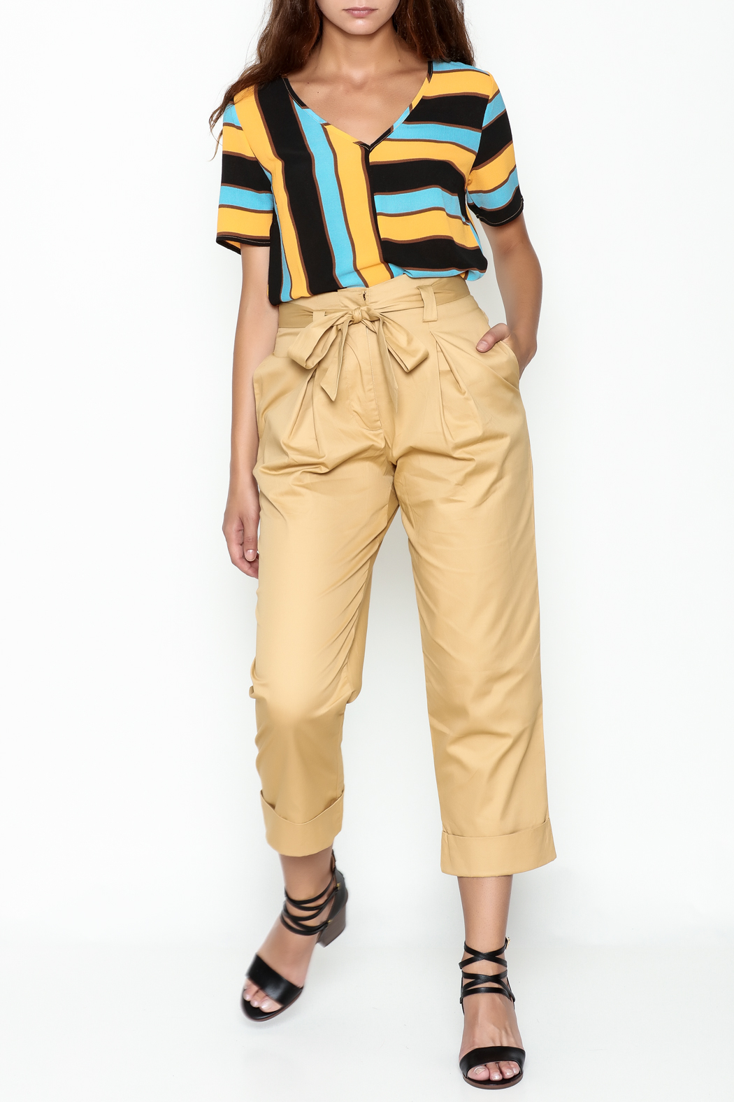 Lulumari Belted Trousers - Side Cropped Image