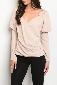 Lulumari Champagne Puff-Sleeve Top - Product List Image