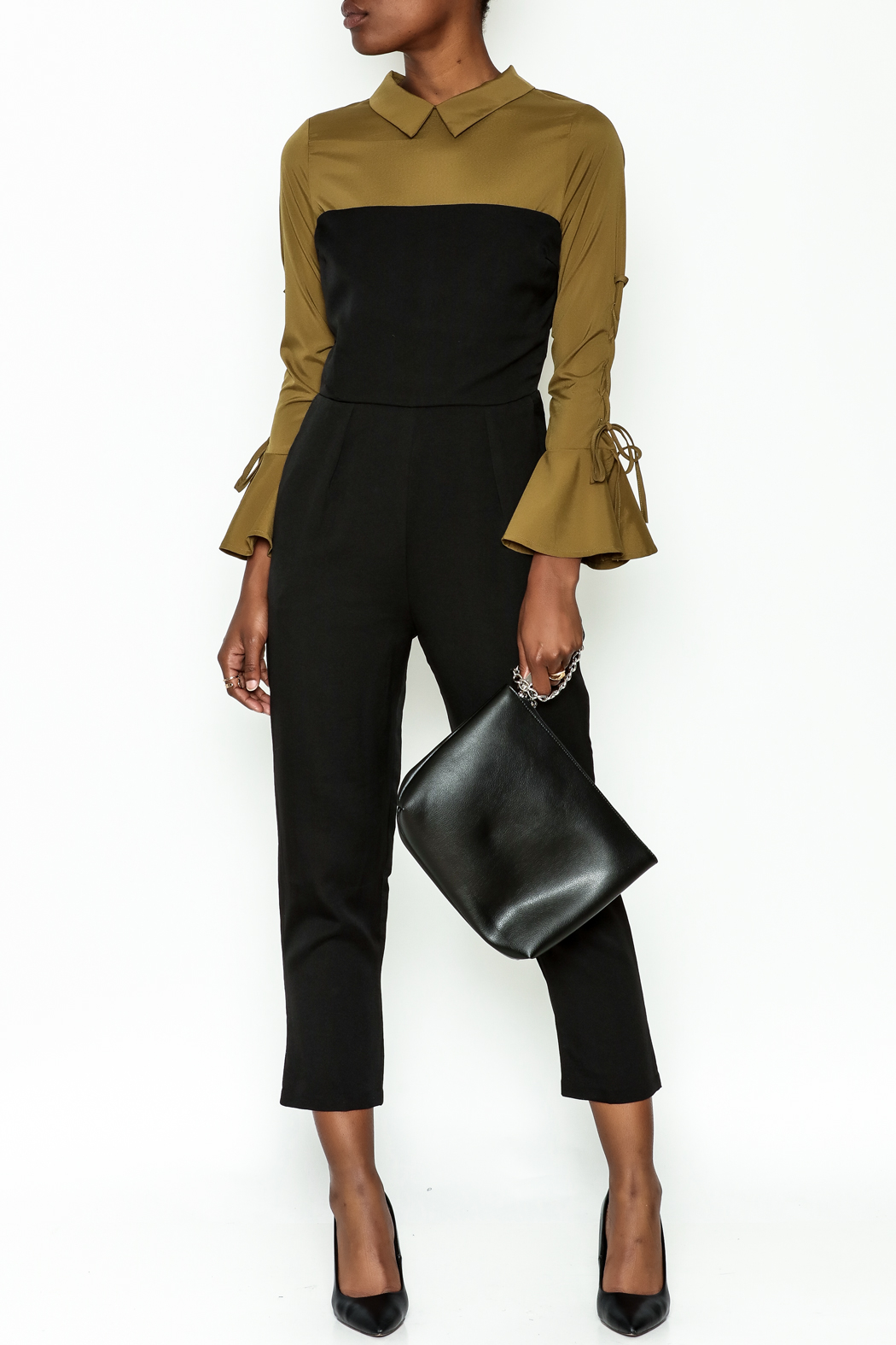 Lulumari Contrast Shirt Jumpsuit - Front Cropped Image