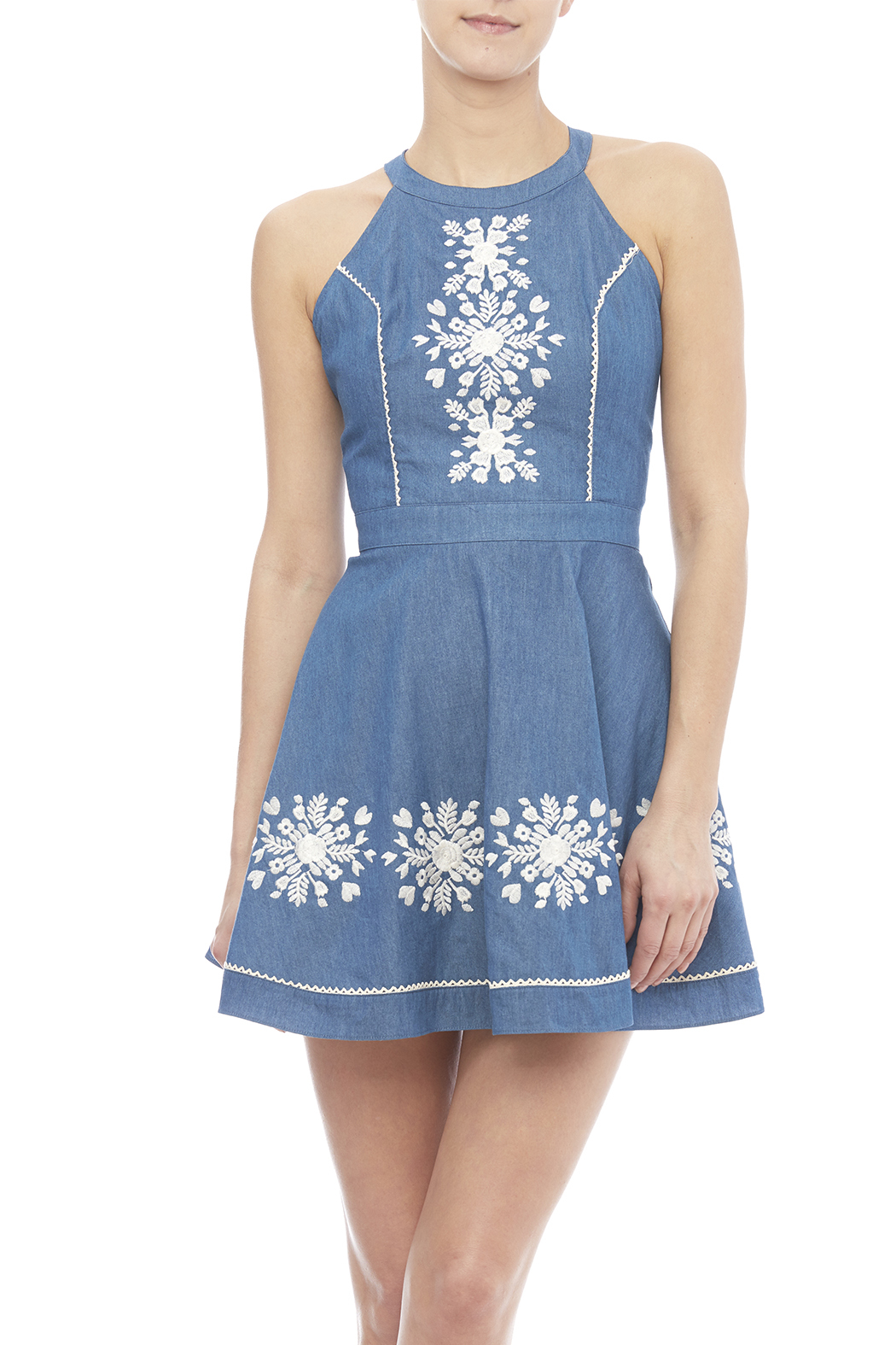 Denim embroidered dress — shoptiques