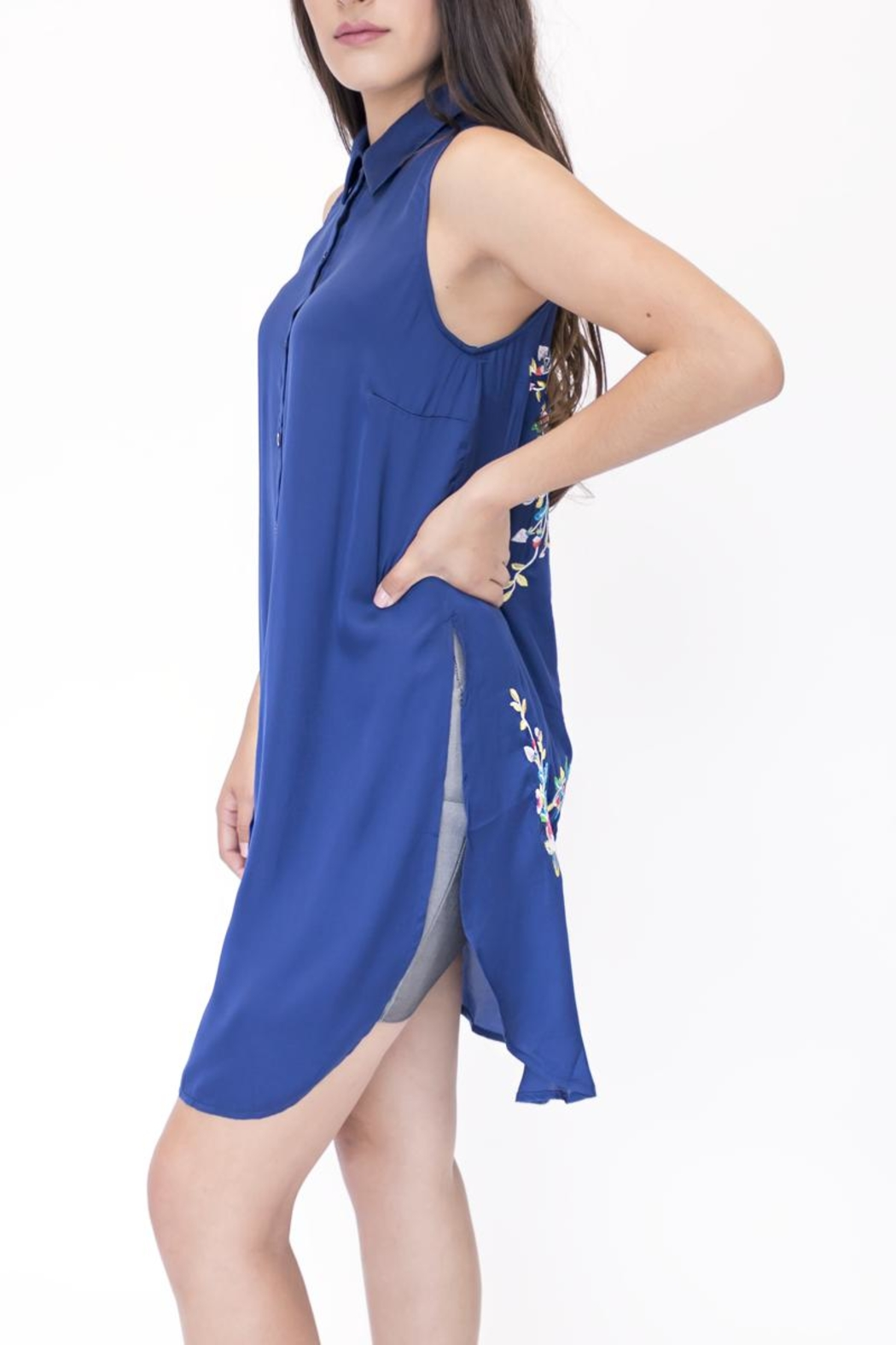 Lulumari Embroidered Satin Sleeveless Top - Front Full Image