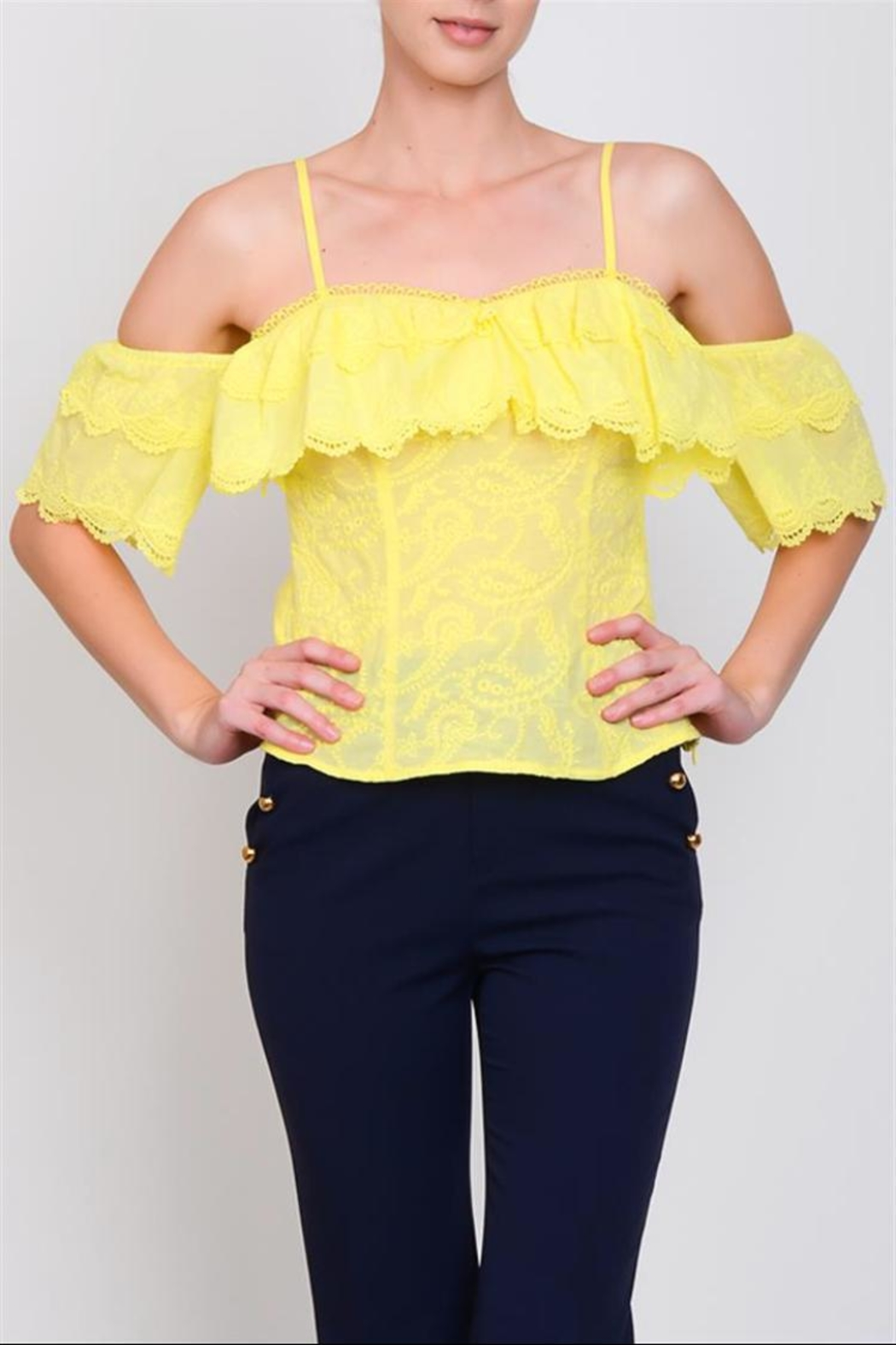 Lulumari Eyelit Cold-Shoulder Top - Main Image