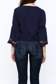 Shoptiques Product: Blue Embroidered Blouse - Back cropped