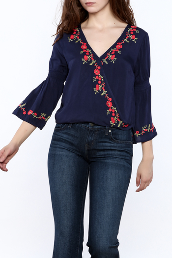 Shoptiques Product: Blue Embroidered Blouse - main