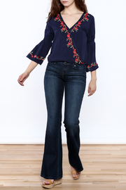 Shoptiques Product: Blue Embroidered Blouse - Front full body