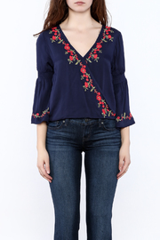 Shoptiques Product: Blue Embroidered Blouse - Side cropped