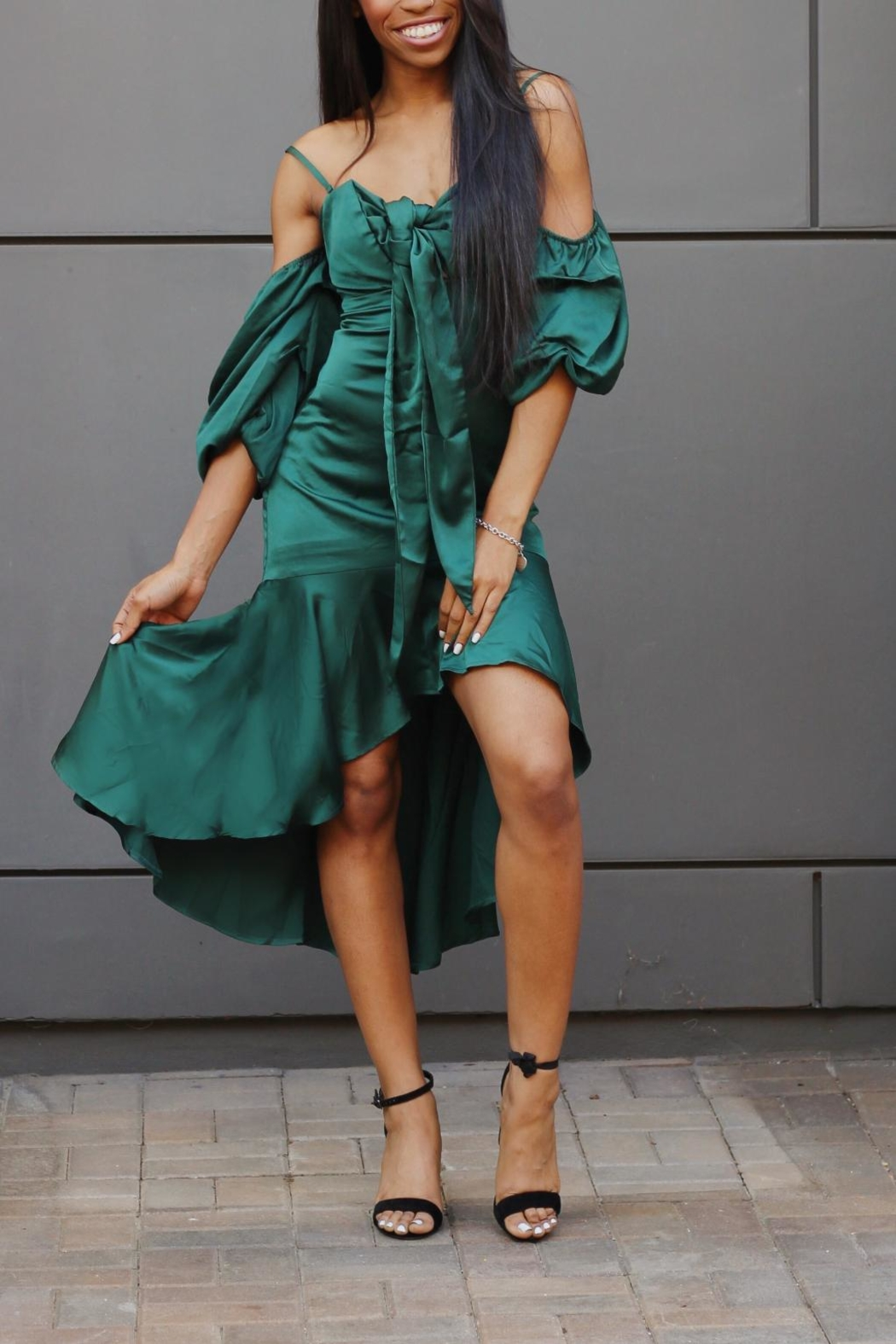 Lulumari Green Silky Dress - Main Image