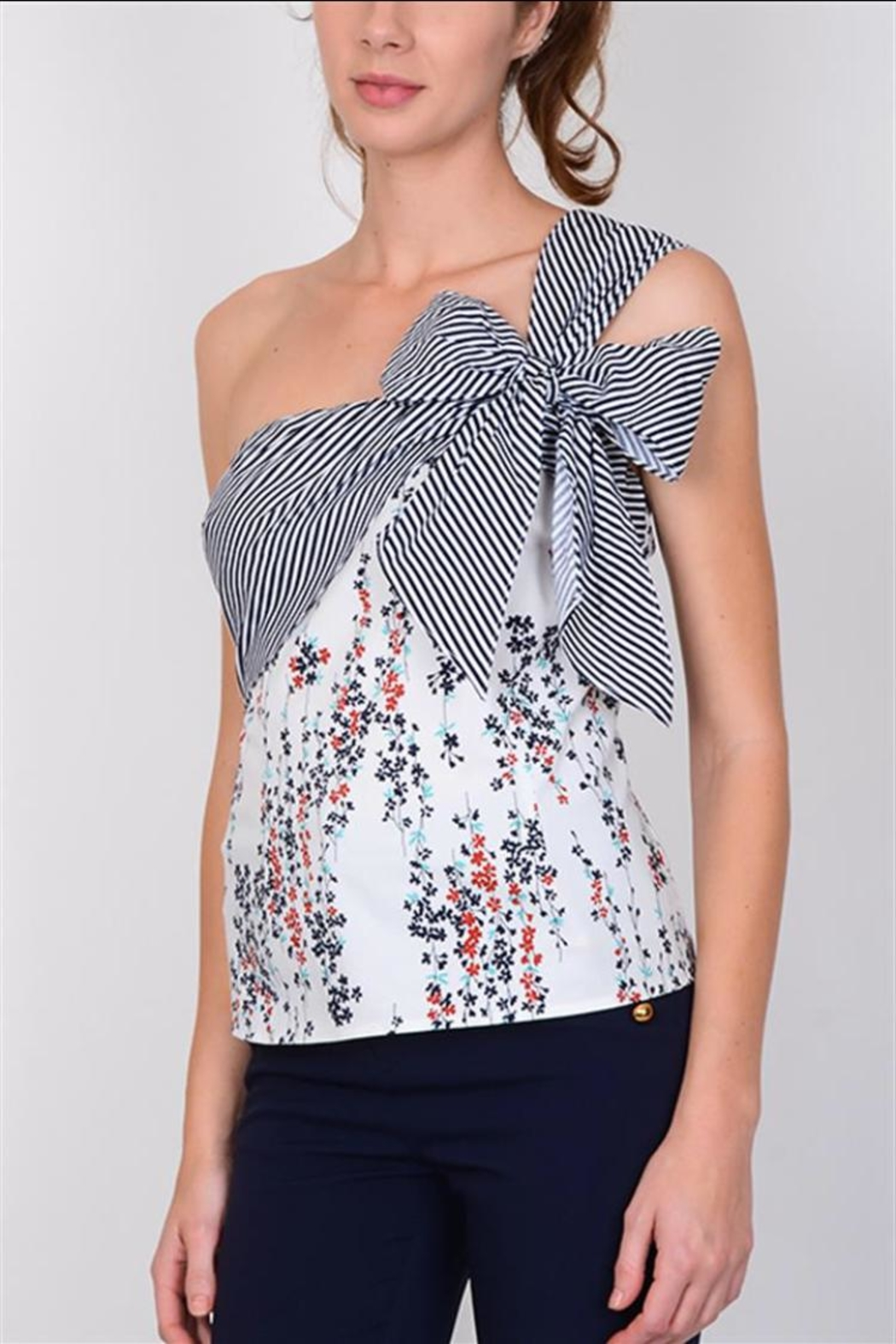 Lulumari One-Shoulder Ribbon Top - Front Cropped Image