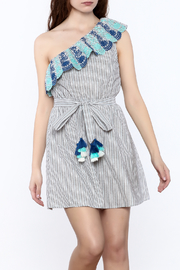 Lulumari Stripe Embroidered Dress - Product Mini Image
