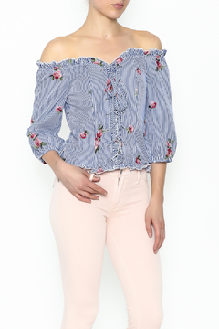 Shoptiques Product: Stripe Embroidered Blouse